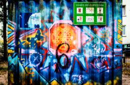 Hier siehst du einen Container mit Graffiti